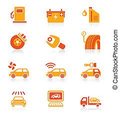 autó szolgáltatás, ikonok, |, lédús, sorozat