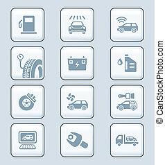 autó szolgáltatás, ikonok, |, tech, sorozat