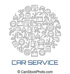 autó szolgáltatás, kerek, poszter, közül, autó rendbehozás bevásárlás, ikon