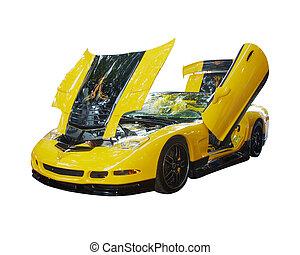 autó, szuper, elszigetelt, sárga