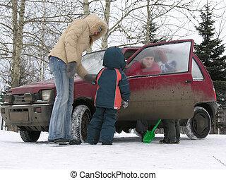autó, tél, család