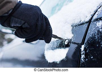 autó, tél