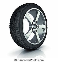 autó, tél, wheel.