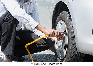 autó, töltelék, tires., levegő