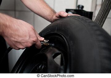 autó, töltelék, tyre., szerelő, levegő