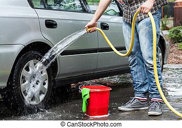 autó, takarítás, ember