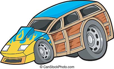 autó, tehervagon, vektor, versenyfutó, fás