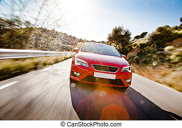 autó, tele, előrehajol, út, veszélyes