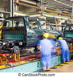 autó termelés, emelet, gyár, lines.