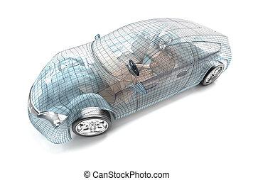 autó, tervezés, drót, model., az enyém, saját, desi