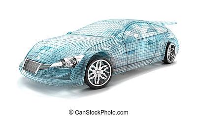autó, tervezés, drót, model., az enyém, saját, design.