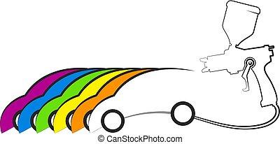 autó, tervezés, festmény