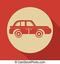 autó, tervezés, retro, ikon