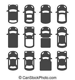 autó, tető kilátás, ikonok, set., vektor
