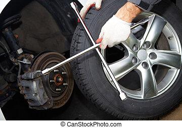 autó, tire., szerelő, átalakuló