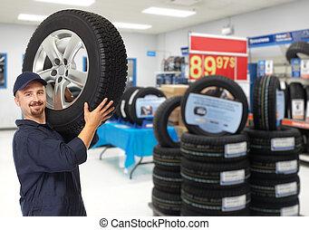 autó, tire., szerelő