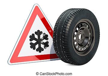 autó tol, noha, tél, szegecselt, hó, autógumi, és, óvakodik, közül, jég, vagy, hó, út, cégtábla., 3, vakolás