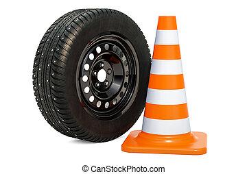 autó tol, noha, tél, szegecselt, hó, autógumi, és, forgalom, cone., 3, vakolás