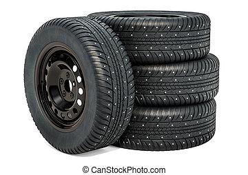 autó, tol, noha, tél, tires., 3, vakolás