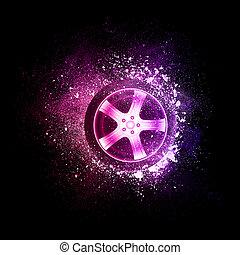autó tol, repülés, alatt, ibolya, particles.