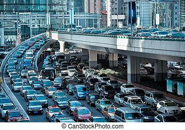 autó, torlódás, alatt, a, reggel, csúcsforgalom
