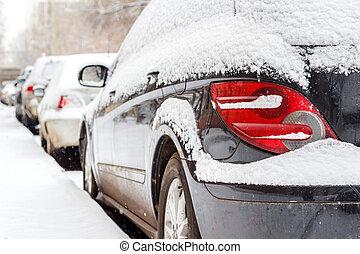 autó, után, hóvihar, hó