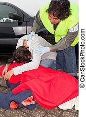 autó, után, kiáltás, baleset