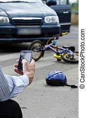 autó, után, mentőautó, baleset