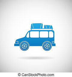 autó, utazás, ábra, vektor, tervezés, sablon, autó, jelkép, ikon