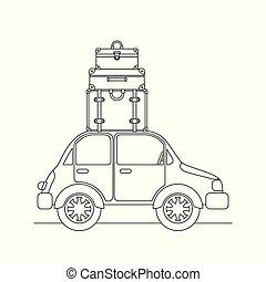 autó, utazás, állhatatos, bőrönd