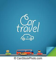 autó, utazás, concept., tervezés, sablon