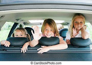 autó, utazó, család