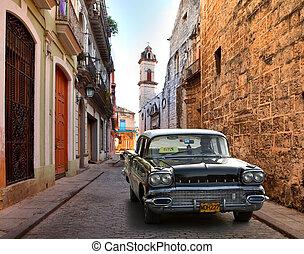 autó, utca, öreg, amerikai, cuba-may, havanna, ...