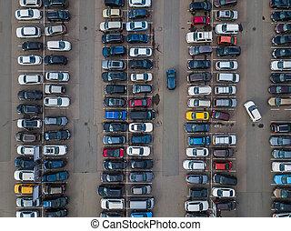 autó, várakozás, -, felülnézet