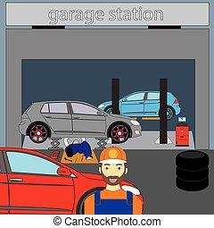 autó, várakozás, vásárlók, szerelő