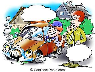 autó, vacak, övé, öreg, szerelő