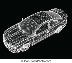 autó, van, designed., vektor