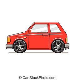 autó, vektor, ábra, játékszer, piros