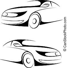 autó, vektor, ábra, jel