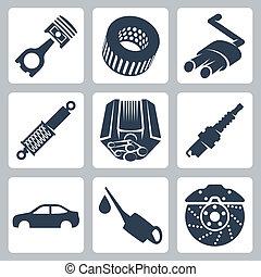 autó, vektor, állhatatos, alkatrészek, ikonok