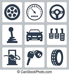 autó, vektor, állhatatos, elszigetelt, ikonok