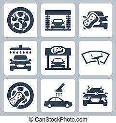 autó, vektor, állhatatos, lemos, ikonok