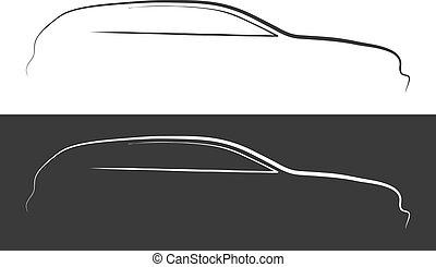 autó, vektor, árnykép, ábra