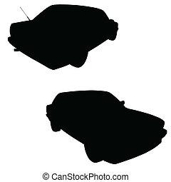 autó, vektor, árnykép, fekete