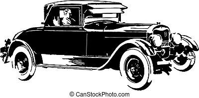 autó, vektor, öreg, időzítő, ábra