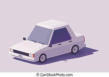 autó, vektor, alacsony, poly