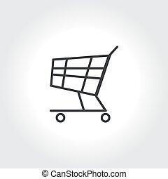 autó, vektor, bevásárlás, ikon