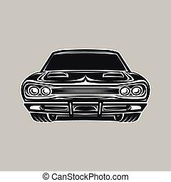 autó, vektor, retro, ábra, izom