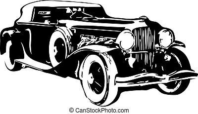 autó, vektor, -, retro
