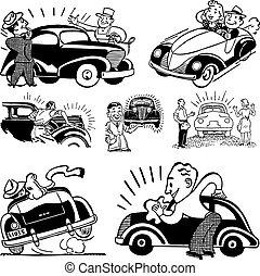 autó, vektor, retro, szerelő, grafika